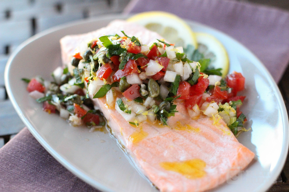 Poached Salmon in Ravigote (Wake Up) Sauce
