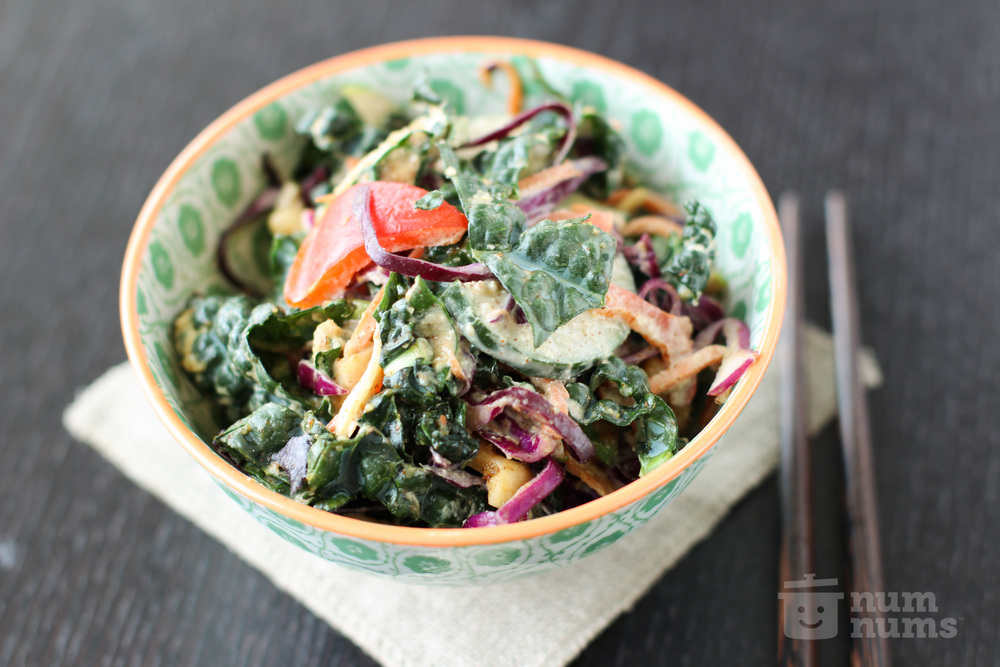 Kale Salad with Curried Almond Butter Dressing