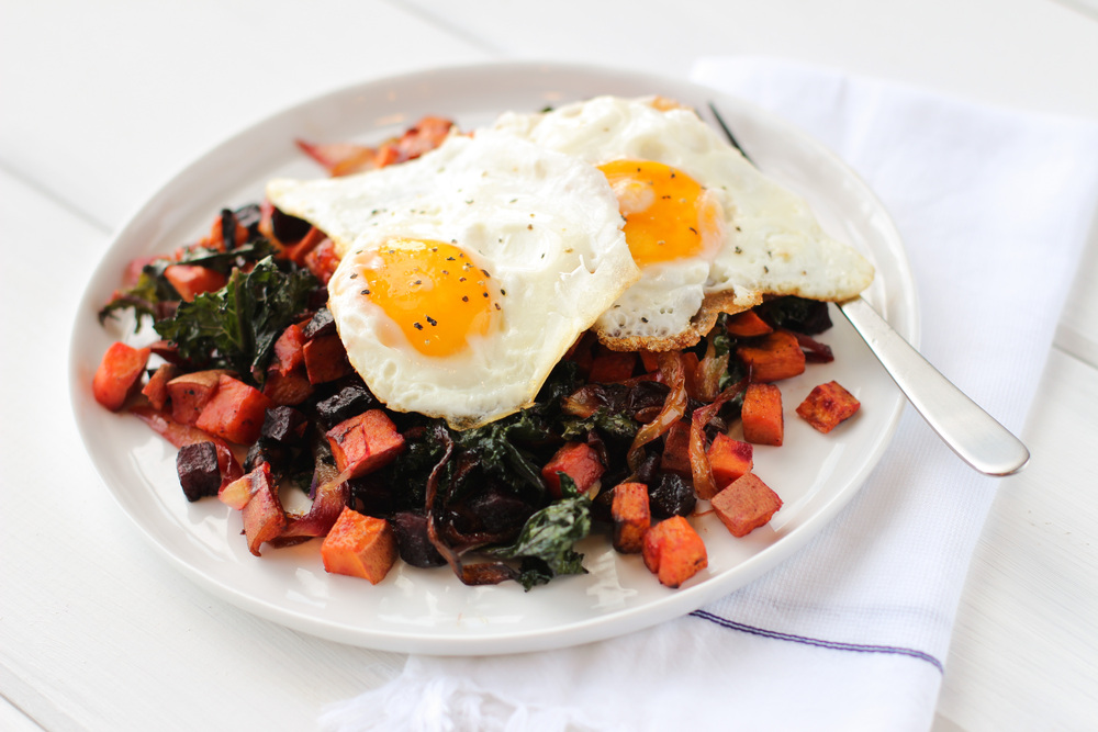 Sweet Potato-Beet Hash with Fried Eggs and Kale