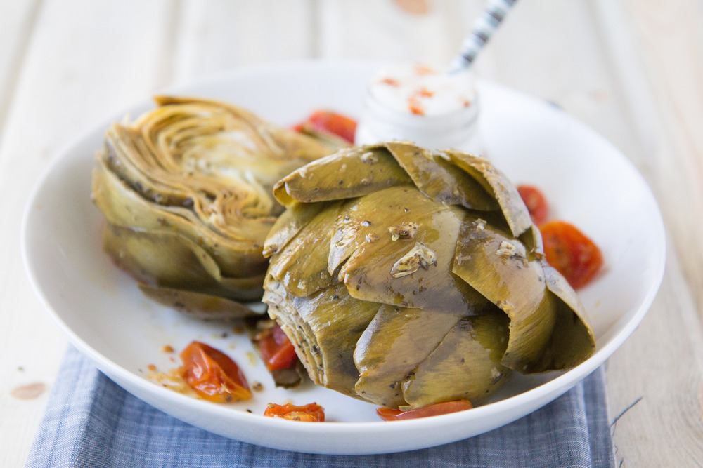 White Wine Garlic Steam Roasted Artichokes with Lemon-Garlic Cheaters Aioli