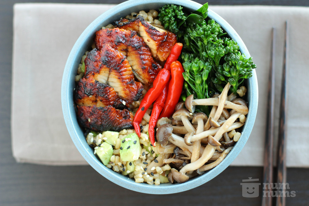 Mission Street Food\'s Sesame Avocado Brown Rice with Unagi